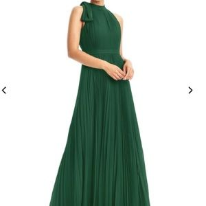 Azazie dark green pleated 'Cailyn' gown